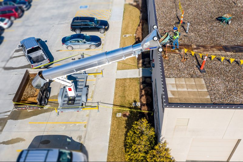 Rocket Equipment's Trash Rocket 3900 (Model TR3900) on ballast commercial reroof roofing project for rock, debris and trash removal
