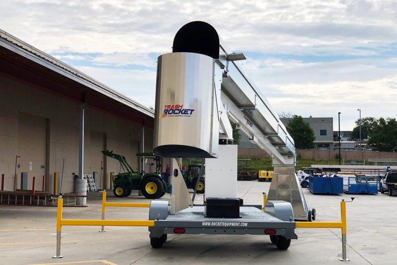 Rocket Equipment's Trash Rocket 3900 (Model TR3900) mobile roofing and construction trash chute, debris disposal system